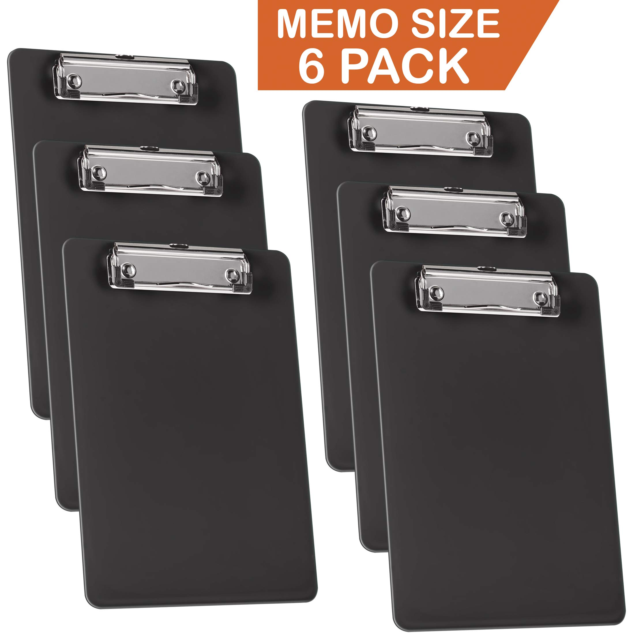 Acrimet Clipboard Memo Size 9 1/4'' X 6 1/4'' Low Profile Clip (Black Color) (Pack - 6)