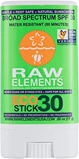 product image for Raw Elements Face Stick Certified Natural Sunscreen   Non Nano Zinc Oxide, 95% Organic, Very Water Resistant, Reef Safe, Non GMO, Cruelty Free, SPF 30+, Moisturizing 0.6 oz (Packaging May Vary)