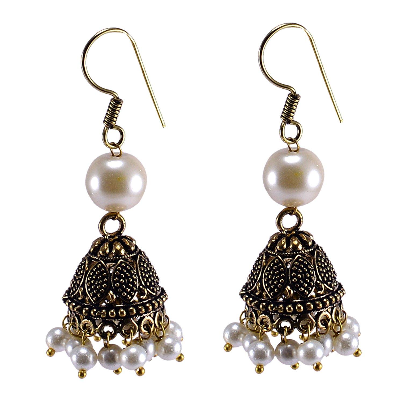 Silvestoo Jaipur Round Shape Pearl Gemstone Brass Jhumka Jewelry PG-119590