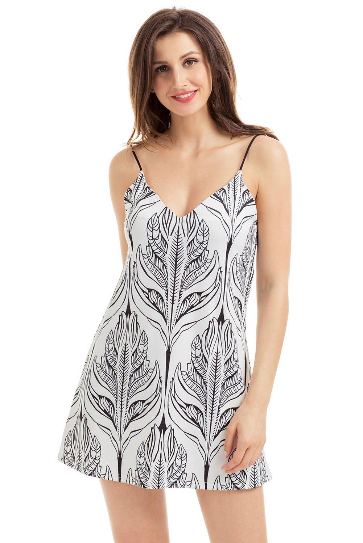 Women V Neck Slip Strap Dress Summer Floral Print Midi Dress Beach Sundress