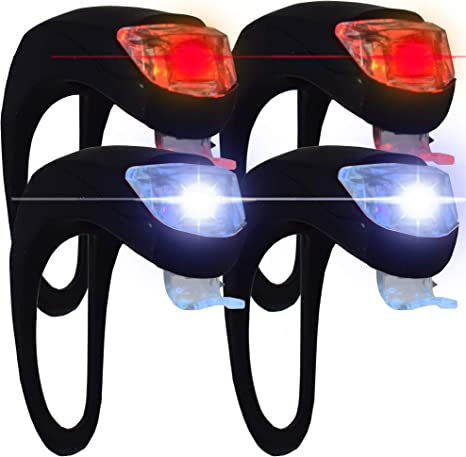 VeloChampion 4 pack Silicone Biking cycling bike bicycle Easy quick fit LED s...