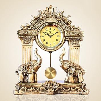MOMO Reloj de Mesa Estilo Europeo Salón Reloj Elefante Estatua Campanas Zhongzhuang Ornamentos Financieros Estilo Retro Grandes Relojes de Escritorio: ...
