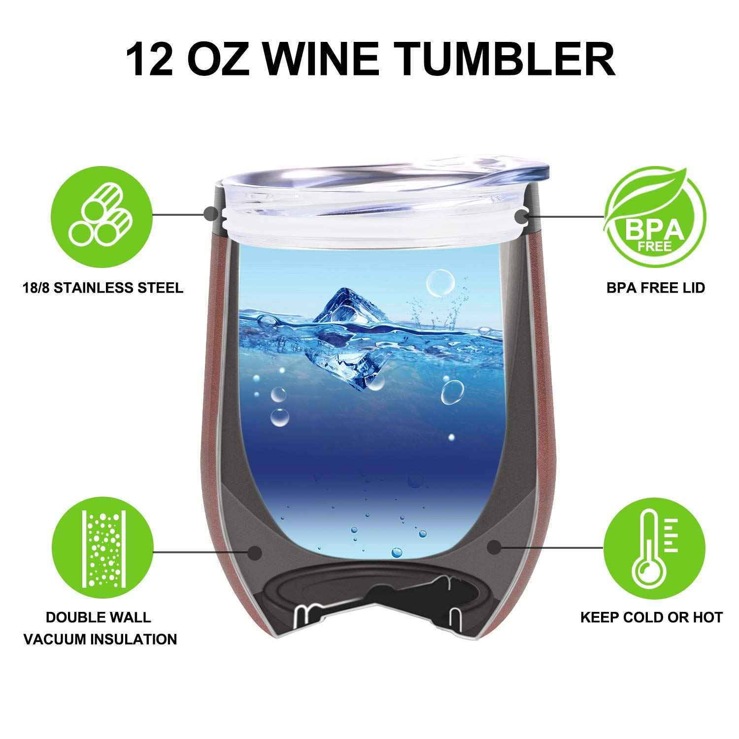Not a Day Over Fabulous   Funny Birthday Wine Gifts Ideas for Women, BFF, Best Friends, Coworkers, Her, Wife, Mom, Daughter, Sister, Aunt   Coolife 12oz Stemless Insulated Wine Tumbler with Lid by Coolife (Image #3)