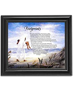 High Quality Footprints In The Sand Christian Religious Black Framed 8x10 Art Print