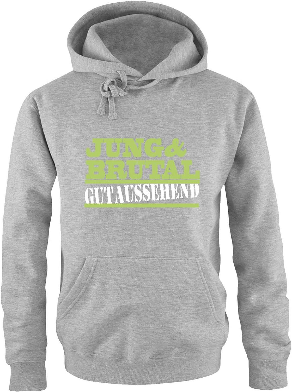 Print-Pulli Langarm Jung /& brutal gutaussehend K/ängurutasche Kapuze Herren Hoodie Comedy Shirts