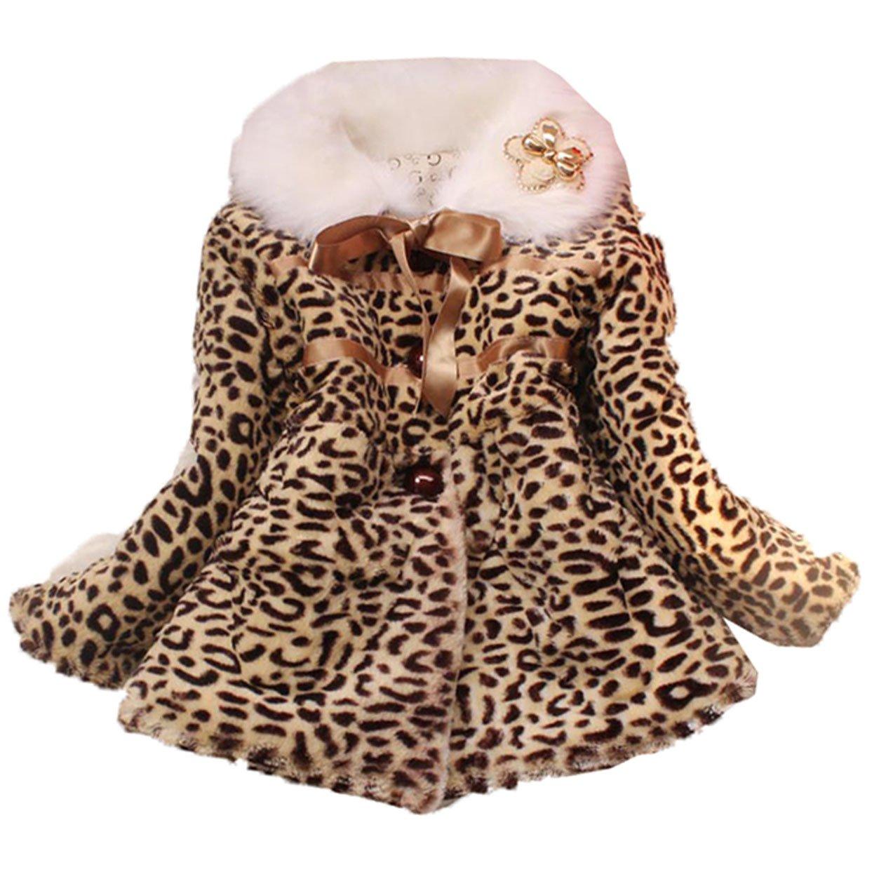 JIANLANPTT Little Girl Leopard Faux Fur Coat Kids Winter Autumn Warm Outwear