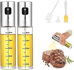 2PCS Oil Sprayer for Cooking, Olive Oil Dispenser Glass Pump Mister Vinegar Spray Bottle for Kitchen Air Fryer Salads Meat Outdoor BBQ Grill Smoker Baking Roasting Frying