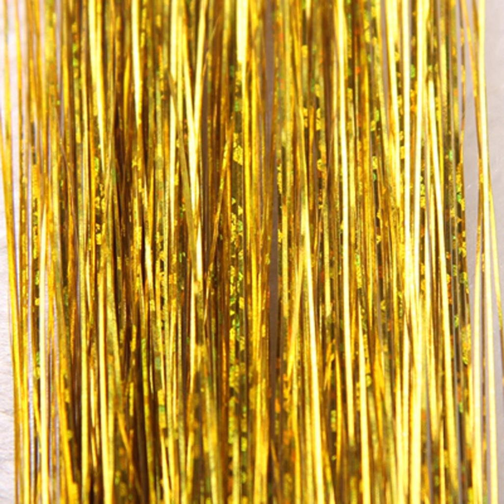Fenleo Hair Tinsel Sparkle Holographic Glitter Extensions Highlights Party Wig (Gold)