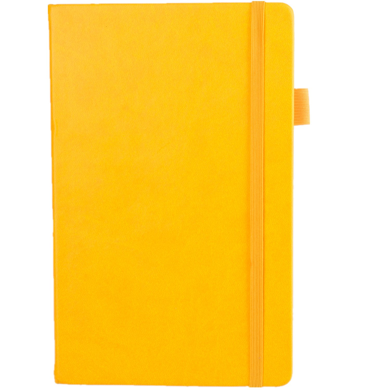 ROF Bullet Journal Dotted Notebook,A5 5.3''×8.3''Thick Paper Bleeding Resistant 80gsm 240Pages Lay Flat,Sturdy Binding not Fall Apart,Yellow Dot Grid Journal with Pen Loop
