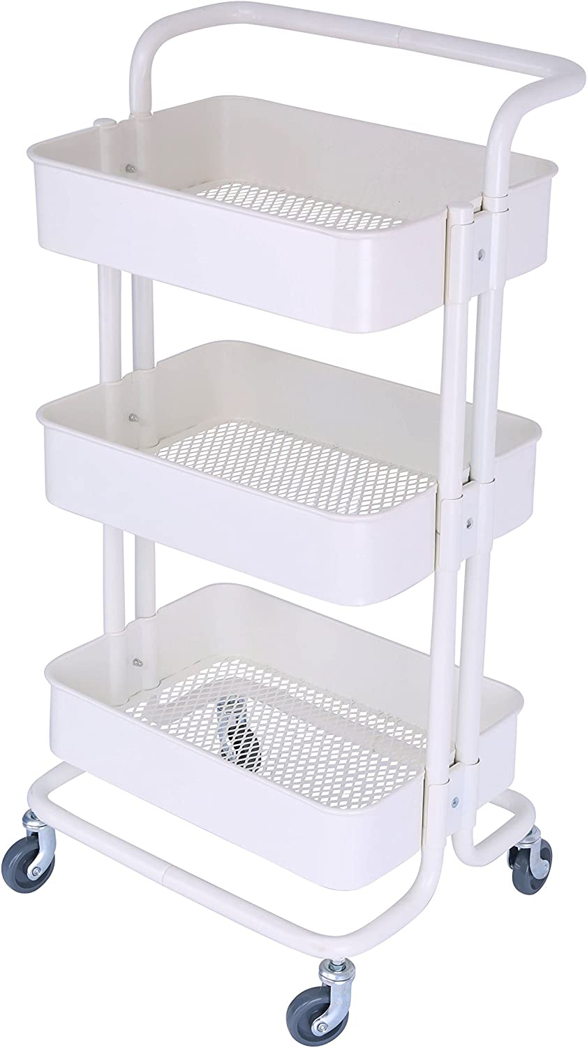 3-Tier Metal Mesh Storage Rolling Cart with Utility Handle, Indoor or Outdoor Storage Organizer, Cream White