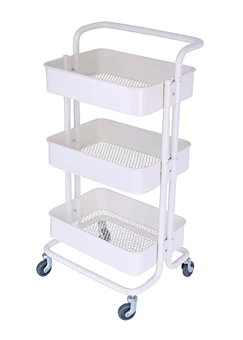 f87f0774e9c5 3-Tier Metal Mesh Storage Rolling Cart with Utility Handle, Indoor or  Outdoor Storage Organizer, Cream White