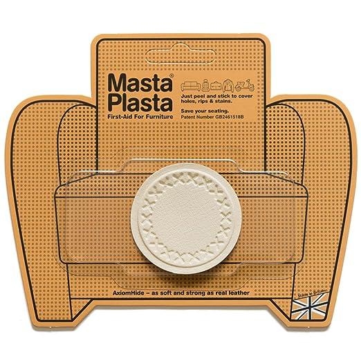 MastaPlasta Reparación Cuero, Polipiel y Skai - Parches Adhesivos Circulo Pequeño (50mm) (Marfil)