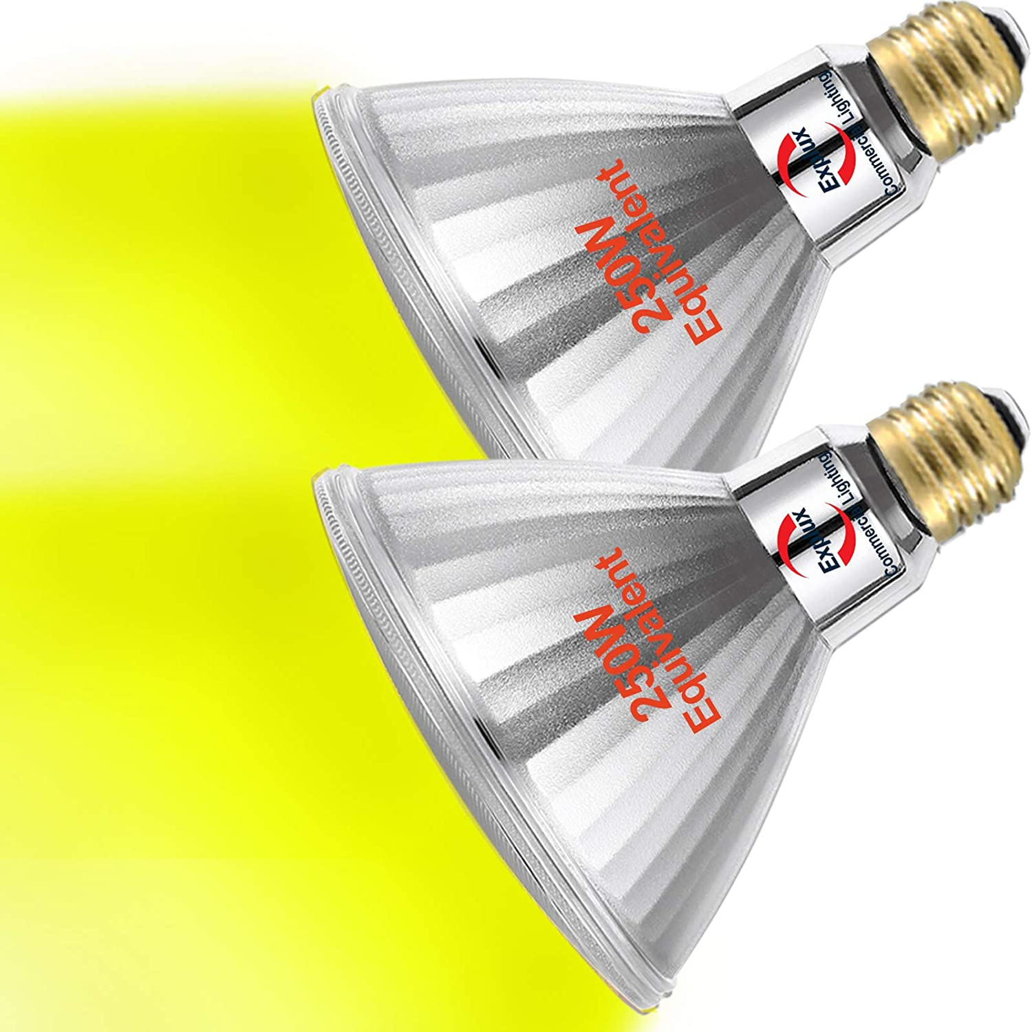 Explux 250W Equivalent Yellow LED PAR38 Flood Light Bulbs, Bug Light, Outdoor Full-Glass Weatherproof, Dimmable, 2-Pack