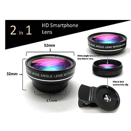 HD Cell Phone Camera Lens 0 45X Wide Angle + 15X Macro Lense
