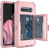 WeLoveCase Galaxy S10 Wallet Case Defender Wallet Credit Card Holder Cover with Hidden Mirror Three Layer Shockproof Heavy Du