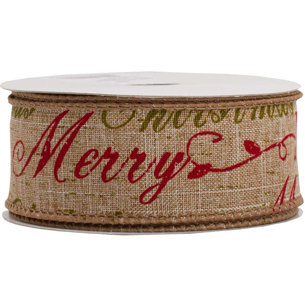 JAM Paper® Wire Edged Ribbon - 1 1/2'' x 10 Yards - Natural Brown Merry Christmas - Sold Individually