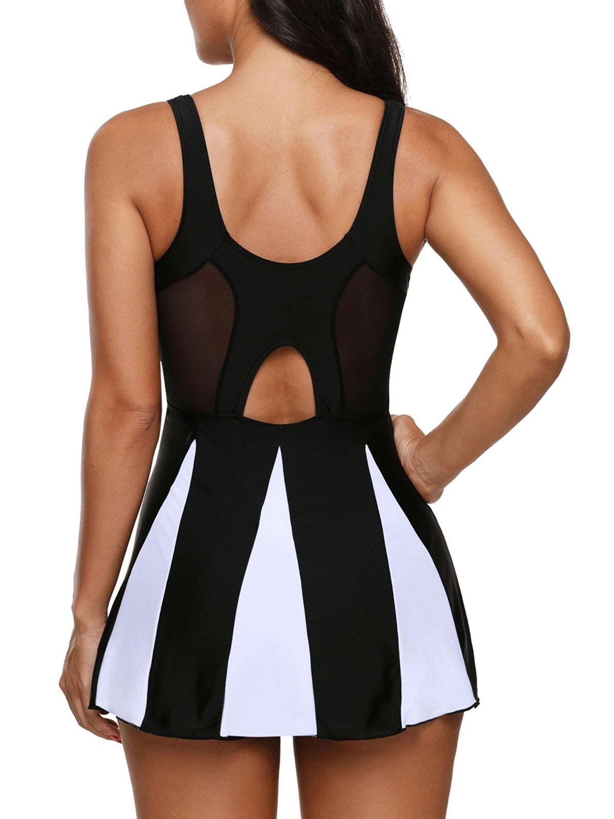 Century Star Women's Elegant Dress One Piece Boy-Leg Bathing Suit Swimdress Printed Swimwear Swimsuits Black White XL(US 12-14) by Century Star (Image #2)