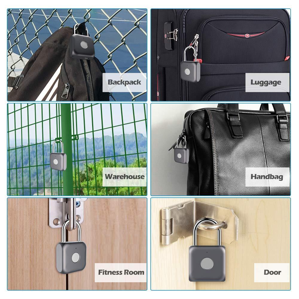 eLinkSmart Mini Serrure de S/écurit/é Rechargeable avec USB C/âble Verrouillage Antivol Adapt/é /à la Porte de la Maison Rouge Cadenas dempreinte Digitale Valises Sac /à dos casier de gym V/élo