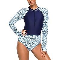 Demetory Women's Floral Long Sleeve Rash Guard Surf Suit Bathing Suit