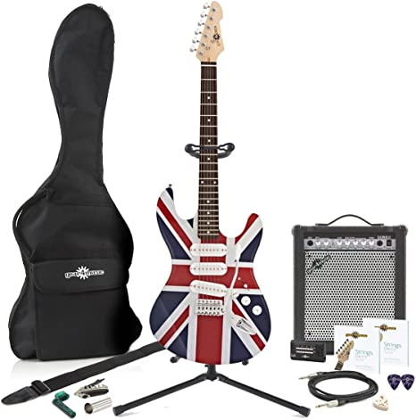 Guitarra eléctrica de LA + 15W Complete Pack Union Jack: Amazon.es ...
