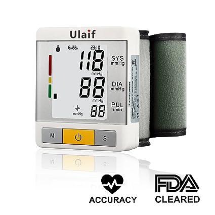 Ulaif Tensiómetro de Muñeca Monitor de Presión Arterial Digital con Medición de Ritmo Cardíaco Pantalla LCD