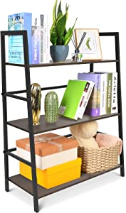 SpringSun 3-Tier Simple Industrial Bookshelf,Wood Bookcase and Display Shelf Furniture with Metal Frame for Home and Office(Brown)