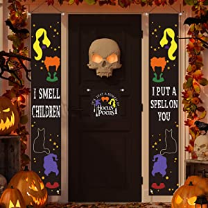 MAIAGO 3 Pcs Halloween Decorations - Hocus Pocus, I Smell Children & I Put A Spell On You Halloween Welcome Porch Signs - Halloween Party Supplies for Outdoor/Indoor Home Front Door Wall