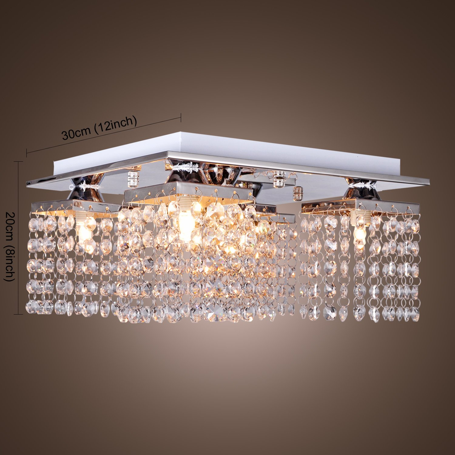 LightInTheBox Crystal Ceiling Light With 5 Lights Electroplated Finish Modern Flush Mount Fixture For Hallway Bedroom Living Room