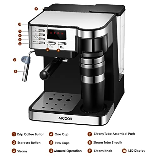 AICOOK-Espresso-and-Coffee-Machine,-3-in-1-Combination-15-Bar-Espresso-Machine-and-Single-Serve-Coffee-Maker-With-Coffee-Mug
