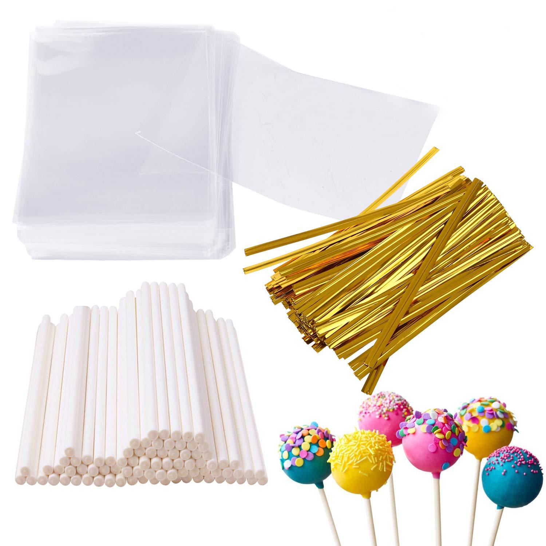 Augshy 300 Pcs Set Including 100 pack Lollipop treat Sticks,100 Pieces Lollipop Parcel Bags 100 Pieces Wire Lines