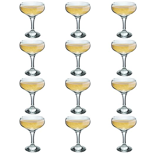 61f19c2b315f Rink Drink Champagne Glasses Vintage Coupe Glass Saucer - 200ml - Pack of  12  Amazon.co.uk  Kitchen   Home