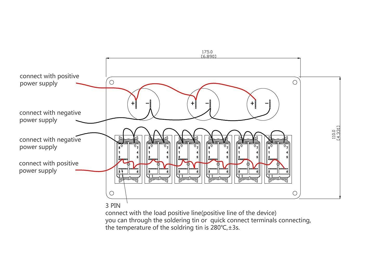 QXXZ: Panel de Interruptor de Barco Marino de 6 Bandas de Placa de Metal LED Rocker en Blanco con interruptores de Circuito y voltímetro Digital (Azul): ...