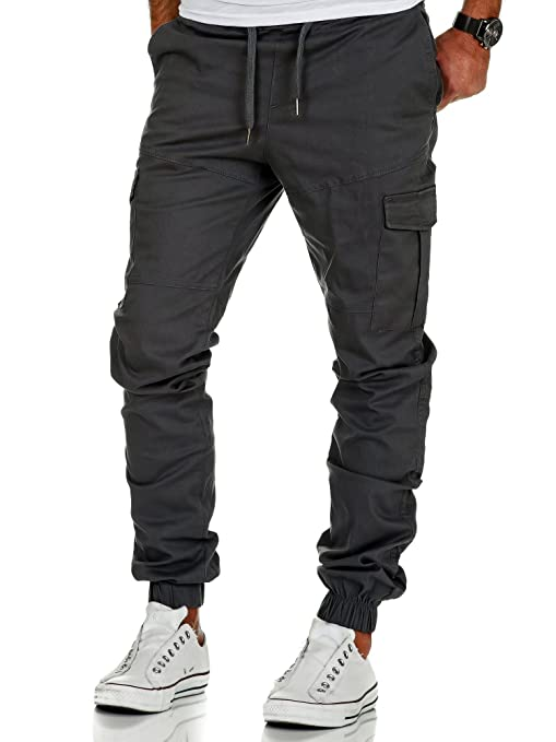 Amaci&Sons Herren Stretch Jogger Cargo Chino Jeans Hose 7006