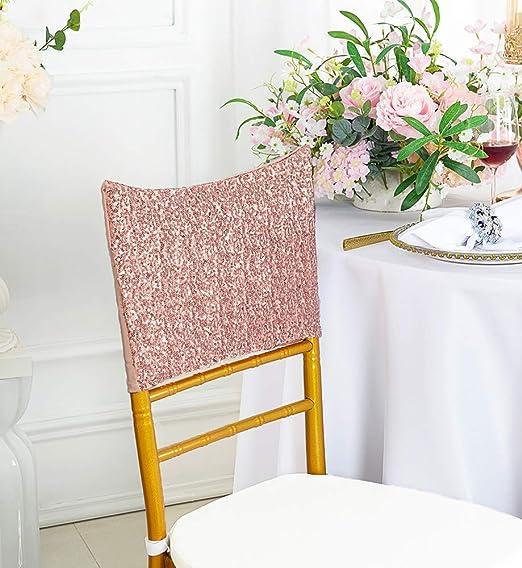 5 Pack Satin Rosette Spandex Banquet Wedding Chair Sashes  Wedding Chair Bands