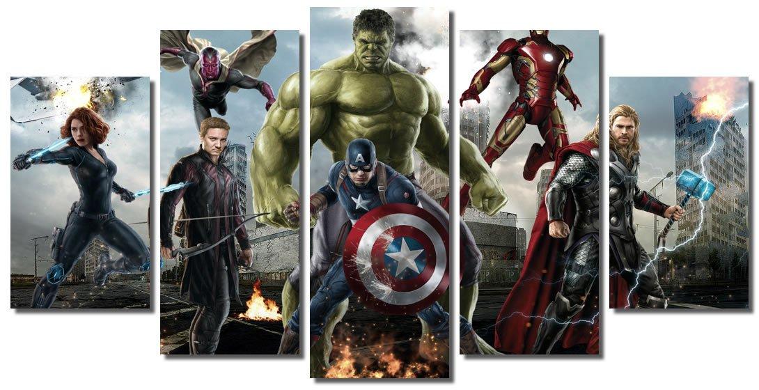 Picture Sensations Framed Canvas Art Print, Marvel Avengers Age of ultron Super Hero, Captain America, Iron Man, Hulk, Thor, Black Widow, Hawkey - 60''x32''