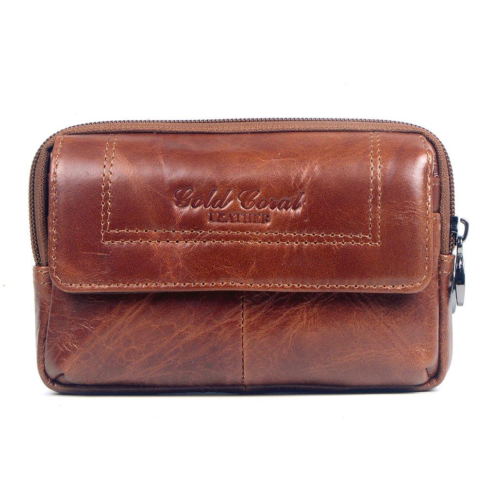 Genda 2Archer Mens Leather Belt Loops Waist Bag Wallet Purse Fanny Pack(Black) LZW050-BK