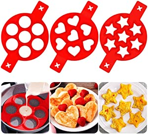 2020 Pancake Mold Maker, 3 pack 21 Cavity Nonstick Silicone Baking Round Mold Egg Rings Muffin Pancake Mould Heart,Star Shape (Red)