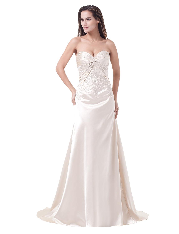 Dresstells Glamourös Damen Kleid Llang Satin Herzförmig Abendkleid Ballkleider mit Applikation und Kurz Schleppe