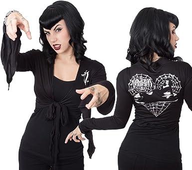 Womens Kreepsville Spiderweb Elastic Waist Belt Black L//XL