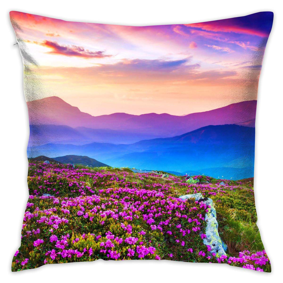 Linxher Purple Mountain Landscape Stunning Wildflowers Scenery Decorative Pillow with Insert Home Decor 16 X 16 Inch
