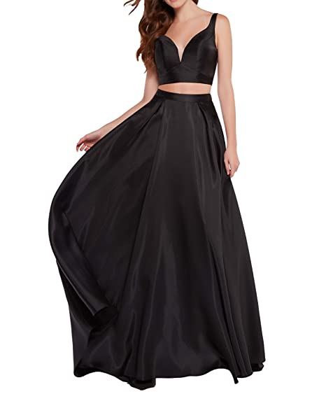 Womens Halter Two Piece Prom Dress Long A Line Chiffon Evening Party
