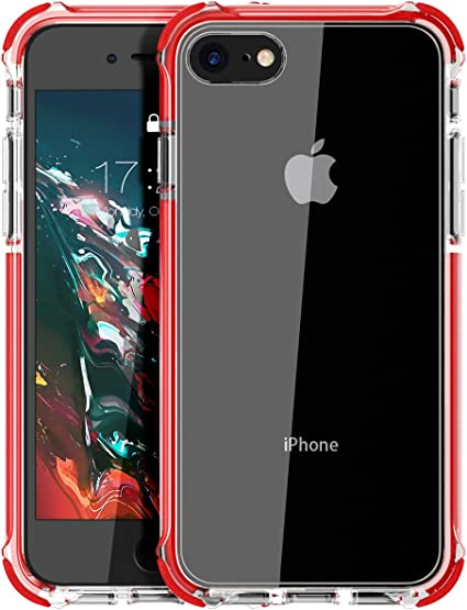 Amazon Com Mateprox Iphone Se 2020 Case Iphone 8 Case Iphone 7 Case Clear Shield Heavy Duty Anti Yellow Anti Scratch Shockproof Cover Compatible With Iphone 7 8 Se Red