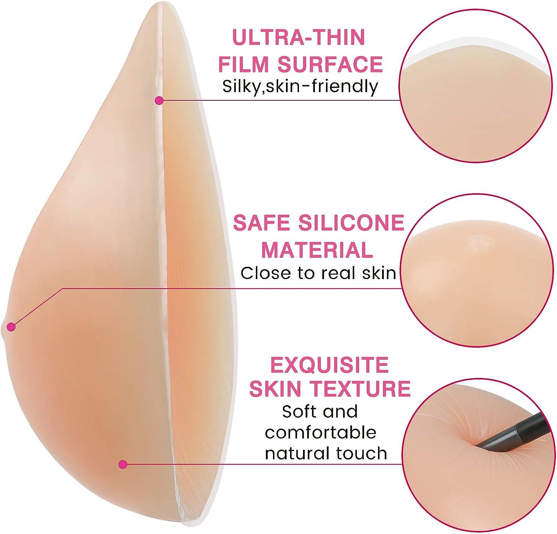Vollence Sagoma Seno in Silicone Triangolare Un Pezzo per Mastectomia Protesi Inserto per Esaltare Reggiseno Cuscinetti Concavi per Reggiseno