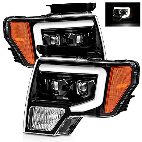 Alpharex Polished Black For 09 14 Ford F150 Drl Led Tube Dual Projector Headlights