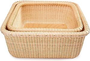 Teng Tian Nantucket Baskets Napkin Baskets Woven Basket Rattan Basket Storage Basket Sewing Baskets longaberger Wicker Nested Party Baskets Sewing Storage Hand-Woven Rattan Square Tray