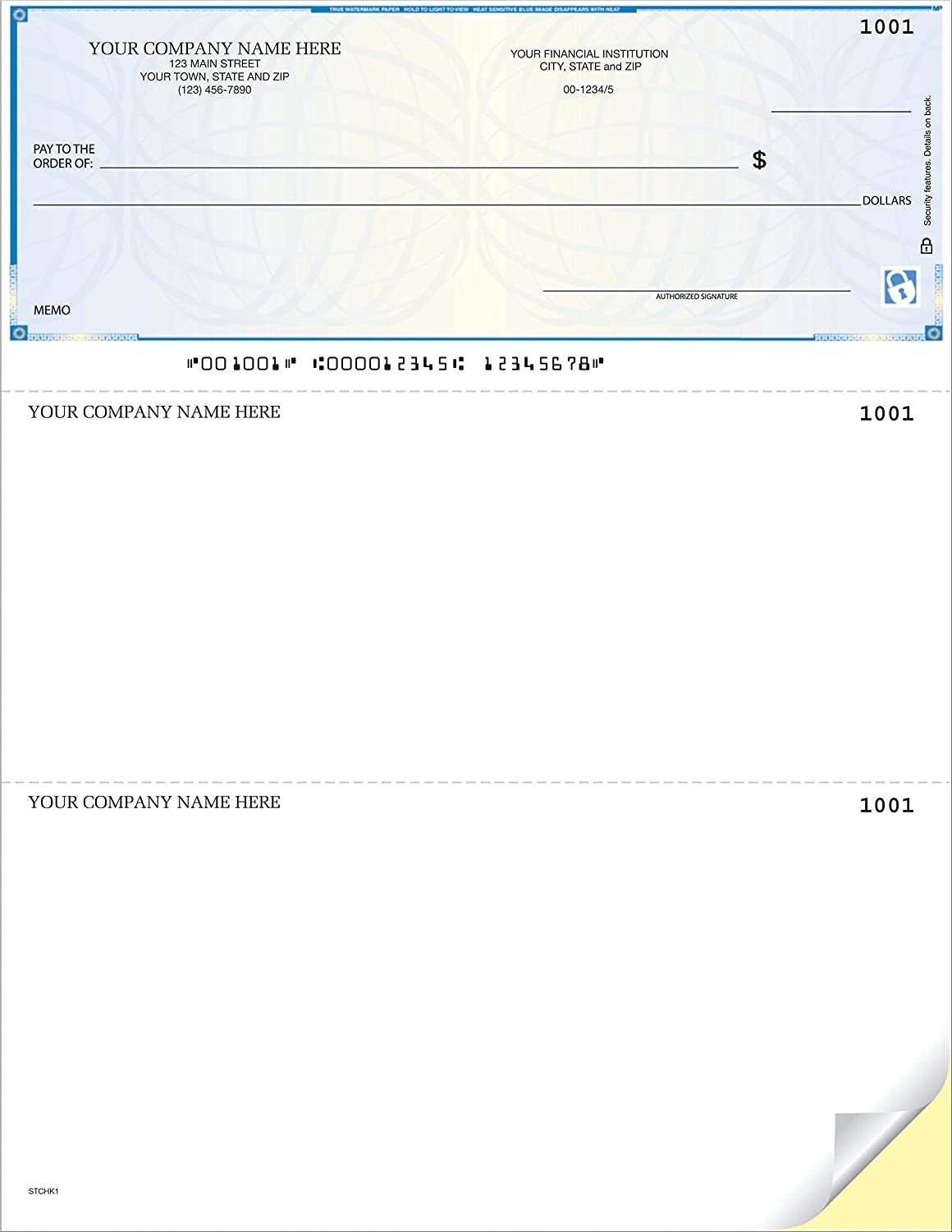 Compatible with QuickBooks//Quicken 1000 Qty - Custom High Security CheckSimple Laser Business Checks
