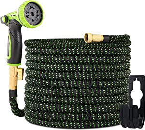 "Yvan 50FT Expandable Garden Hose,Upgraded Leakproof Lightweight Flexible Water Hose with 10 Function Spray Hose Nozzle,Double Latex Core,3/4"" Solid Brass Fittings,Extra Strength Fabric"