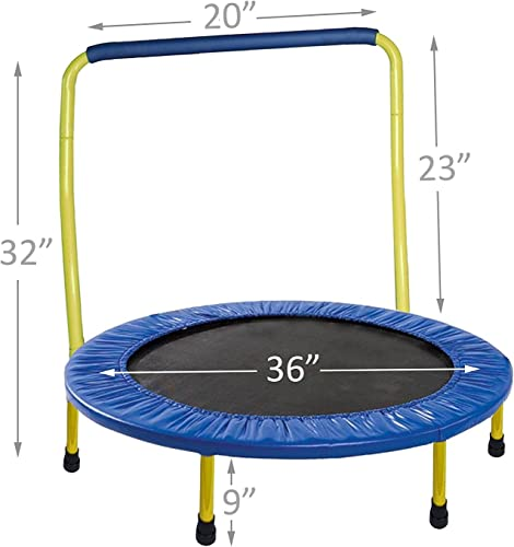 JumJoe Kids Trampoline – 36 inch, with Handle bar, Safety, Portable – 1 Year Warranty. Yellow