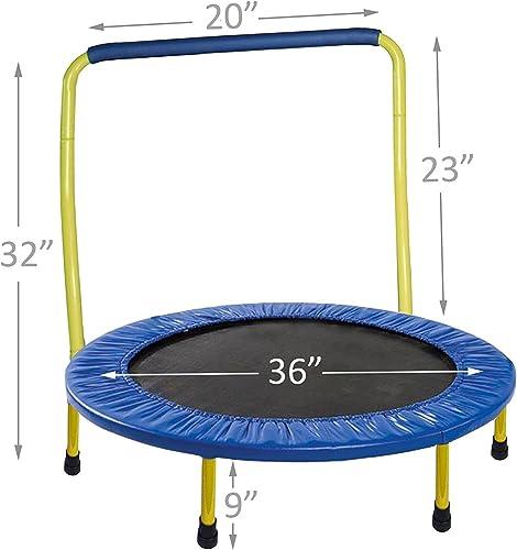 JumJoe Kids Trampoline – 36 inch, with Handle bar, Safety, Portable – 1 Year Warranty. Yellow