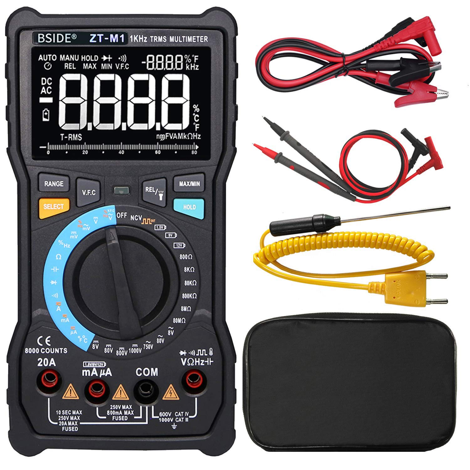 Bside Electricians Digital Multimeter 3-Line Display Large Screen True RMS 8000 Counts Auto-Ranging Voltmeter VFC Temperature Capacitance AC/DC Voltage Current Battery Tester with Alligator Clip